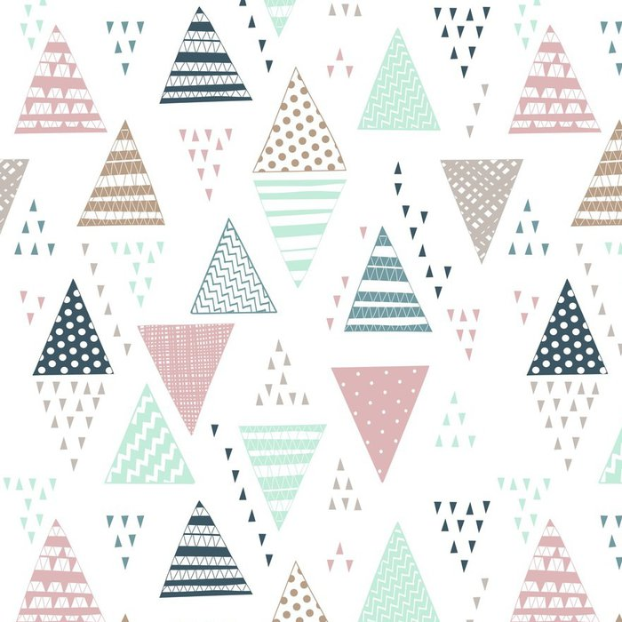 Vinyl Wallpaper Seamless pattern with decorative hand-drawn triangles. - Graphic Resources