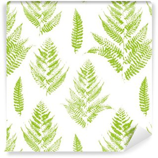Vinyl Wallpaper Seamless pattern with paint prints of fern leaves