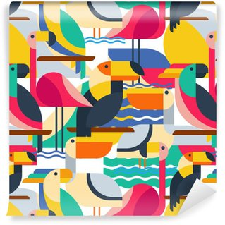 Seamless pattern with tropical birds. Vinyl Wallpaper