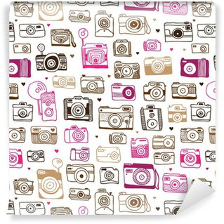 Pixerstick Wallpaper Seamless photo camera doodle pattern in vector