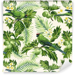 Seamless tropical pattern with leaves, flowers and parrots. Vinyl Wallpaper