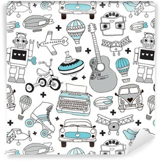 Vinyl Wallpaper Seamless vintage boys toys background pattern in vector
