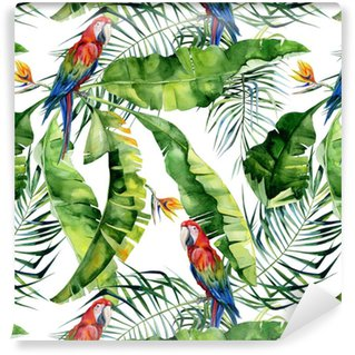 Seamless watercolor illustration of tropical leaves, dense jungle. Scarlet macaw parrot. Strelitzia reginae flower. Hand painted. Pattern with tropic summertime motif. Coconut palm leaves. Vinyl Wallpaper