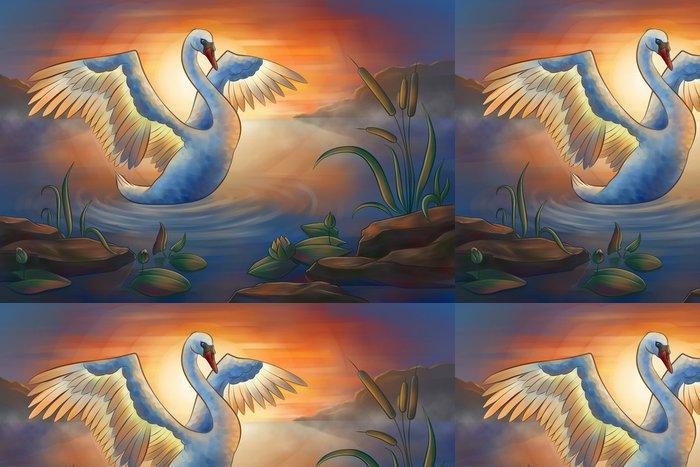 Vinyl Wallpaper swan on the pond - Birds