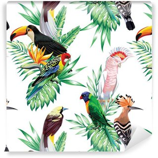 Vinyl Wallpaper tropical birds and palm leaves pattern