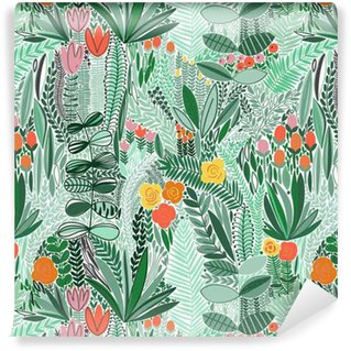 Tropical seamless floral pattern Vinyl Wallpaper