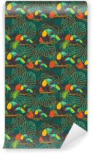 Pixerstick Wallpaper Tropical toucan seamless vector pattern