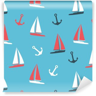 Vector illustration yachts and anchor silhouettes set Vinyl Wallpaper