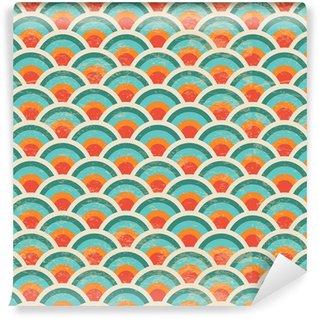 Vector Seamless Geometric Circles Background, Grunge Texture\ Vinyl Wallpaper