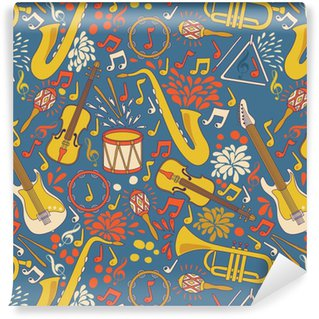 Vector seamless pattern with musical instruments. Vector illustration. Abstract Music Background Vinyl Wallpaper