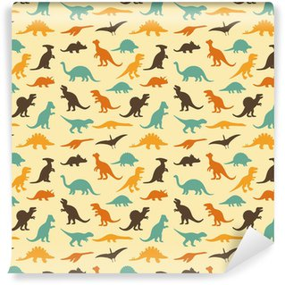 Pixerstick Wallpaper vector set silhouettes of dinosaur, retro pattern background