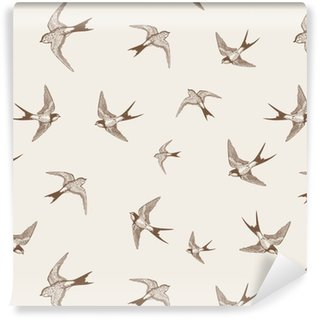 vintage pattern with white little swallows Vinyl Wallpaper