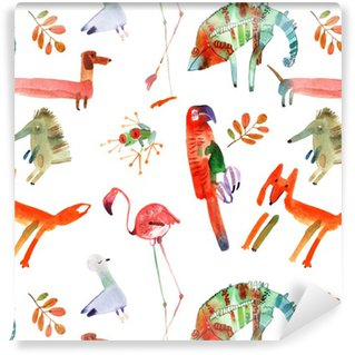 Pixerstick Wallpaper watercolor animals set