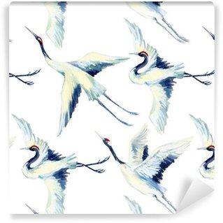 Watercolor asian crane bird seamless pattern Vinyl Wallpaper
