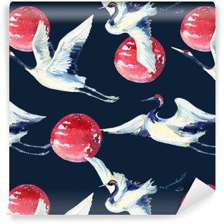 Vinyl Wallpaper Watercolor asian crane bird seamless pattern
