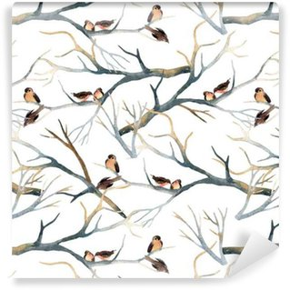 Watercolor birds on the tree branches Vinyl Wallpaper