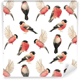Watercolor bullfinch bird pattern Vinyl Wallpaper