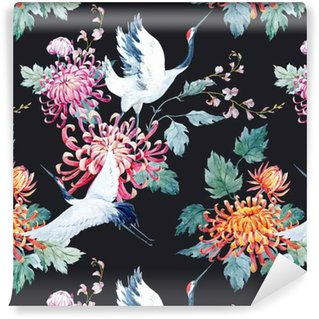 Watercolor crane pattern Vinyl Wallpaper