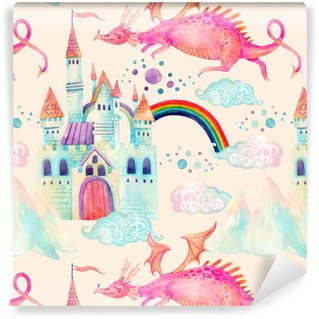 Pixerstick Wallpaper Watercolor fairy tale seamless pattern with cute dragon, magic castle, mountains and fairy clouds