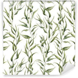 Pixerstick Wallpaper Watercolor green floral seamless pattern with eucalyptus leaves. Hand painted pattern with branches and leaves of eucalyptus isolated on white background. For design or background