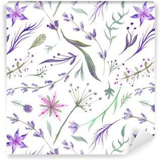 Watercolor Herbal Pattern with Lavender in Purple Color Vinyl Wallpaper