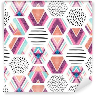 Watercolor hexagon seamless pattern with geometric ornamental elements Vinyl Wallpaper