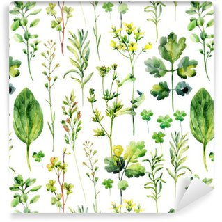 Vinyl Wallpaper Watercolor meadow weeds and herbs seamless pattern