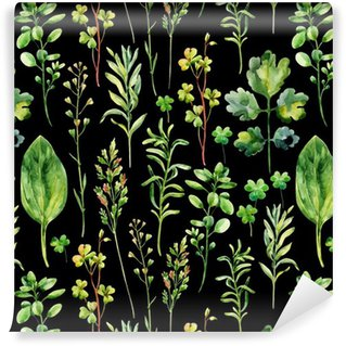 Pixerstick Wallpaper Watercolor meadow weeds and herbs seamless pattern