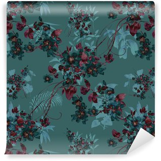 Vinyl Wallpaper Watercolor painting of leaf and flowers, seamless pattern