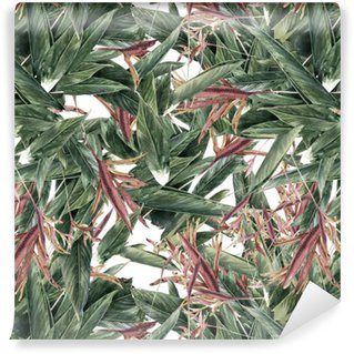 Pixerstick Wallpaper Watercolor painting of leaf and flowers, seamless pattern