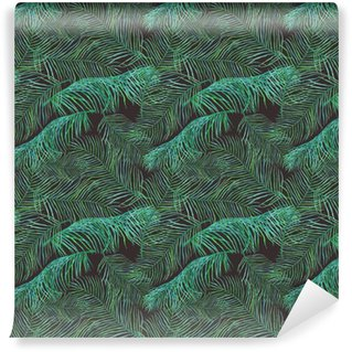 Vinyl Wallpaper Watercolor palm leaves saemless pattern on dark background.