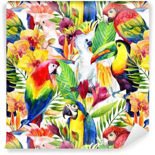 watercolor parrots with tropical flowers seamless pattern Vinyl Wallpaper