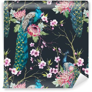 Vinyl Wallpaper Watercolor peacock pattern