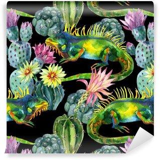 Watercolor seamless cactus pattern Vinyl Wallpaper