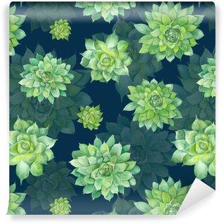 Watercolor Succulent Pattern on Blue Background Vinyl Wallpaper