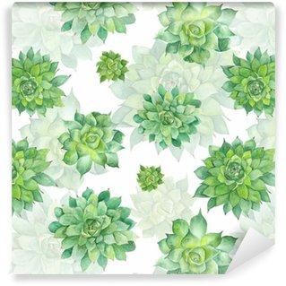 Watercolor Succulent Pattern on White Background Vinyl Wallpaper