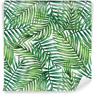 Pixerstick Wallpaper Watercolor tropical palm leaves seamless pattern. Vector illustration.