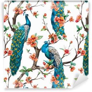 Watercolor vector peacock pattern Vinyl Wallpaper