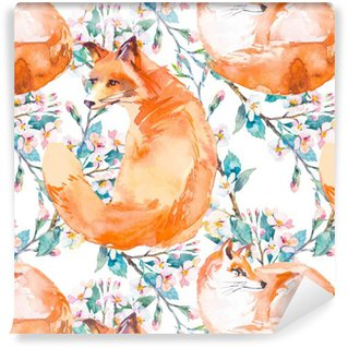 Vinyl Wallpaper Wildlife pattern. Fox and flowering branches. .