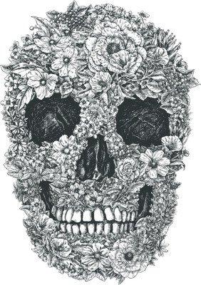 Wandtattoo Blumen-Schädel-Vektor