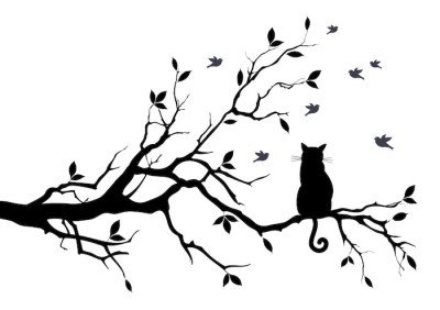 Wandtattoo Katze auf einem Baum mit Vögeln, Vektor