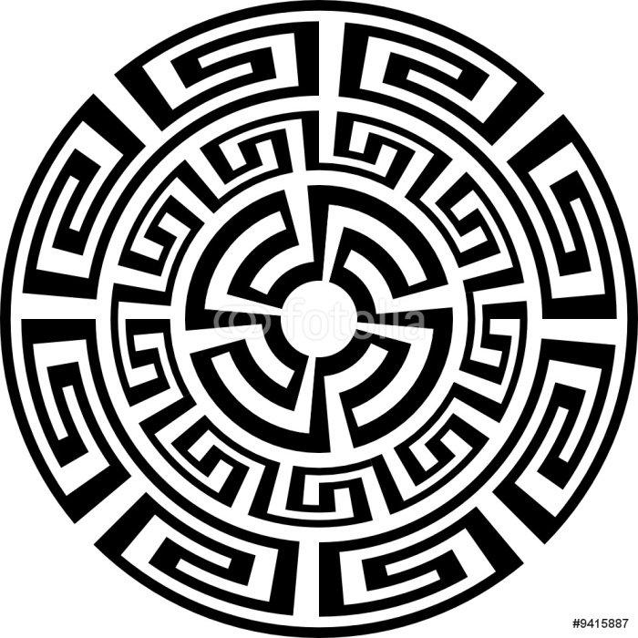 Wandtattoo Sonne Rund Griechischen Ornamenten T Shirt Tattoo