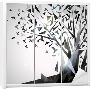 Wardrobe Sticker Abstract Tree with origami birds.