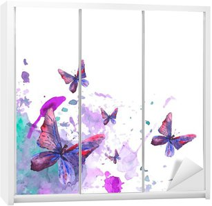 Abstract watercolor background with butterflies Wardrobe Sticker