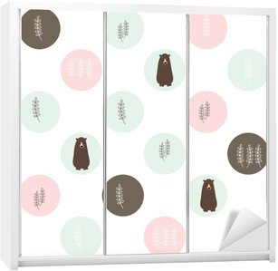 Bear and forest seamless background. vector design illustration. Wardrobe Sticker