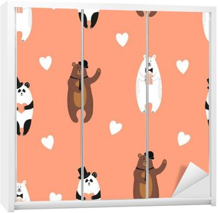 Wardrobe Sticker Cute bears pattern. Seamless romantic background with polar bear, brown bear and panda.