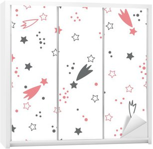 Cute seamless pattern with stars. Space background Wardrobe Sticker