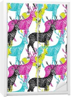 deer hand drawn seamless background Wardrobe Sticker