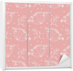 Dill or fennel flowers and leaves pattern. Wardrobe Sticker