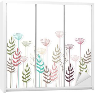 Floral background. Wardrobe Sticker